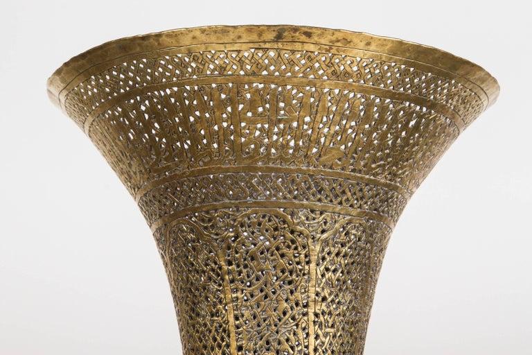Antique Moorish Brass Candleholder Floor Lamp For Sale 2
