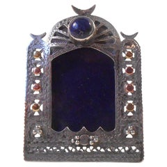 Antique Islamic Miniature Silver Frame with Bloodstone Rose, White & Yellow Gold