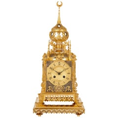 Antique Islamic Style Silvered and Gilt Bronze Clock by Charles Oudin