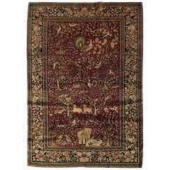Antique Isphahan Pictorial Rug, circa 1880