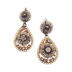 Antique Italian 12 Carats Yellow Gold Filigree Seed Pearl Pendant Earrings