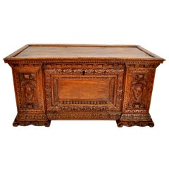 Antique Italian 17th Century Baroque Carved Walnut Cassone Coffer Chest, 1680