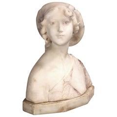 Antique Italian 2 Tone Marble Joan of Arc Portrait Bust Sculpture, circa 1890