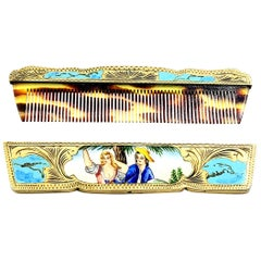 Antique Italian 800 Silver Gold Vermeil Hand Painted Enamel Comb