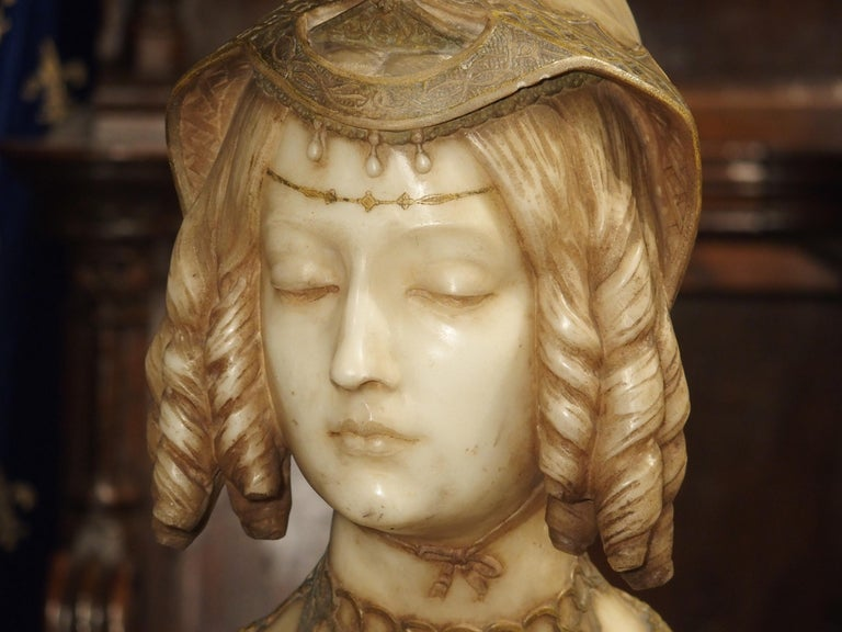 Antique Italian Alabaster Bust of the Grand Princess of Tuscany, circa 1890 5