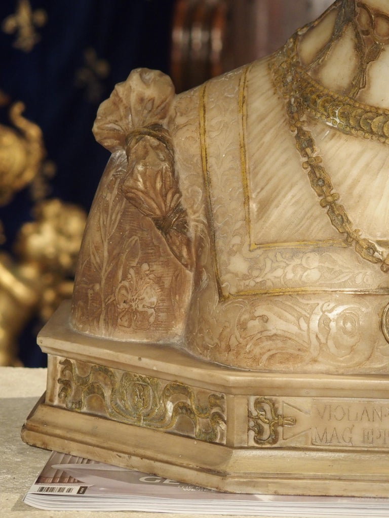 Antique Italian Alabaster Bust of the Grand Princess of Tuscany, circa 1890 6