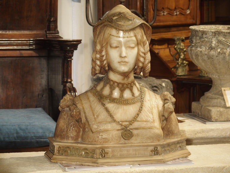 Antique Italian Alabaster Bust of the Grand Princess of Tuscany, circa 1890 7