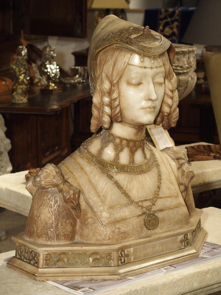Antique Italian Alabaster Bust of the Grand Princess of Tuscany, circa 1890 8