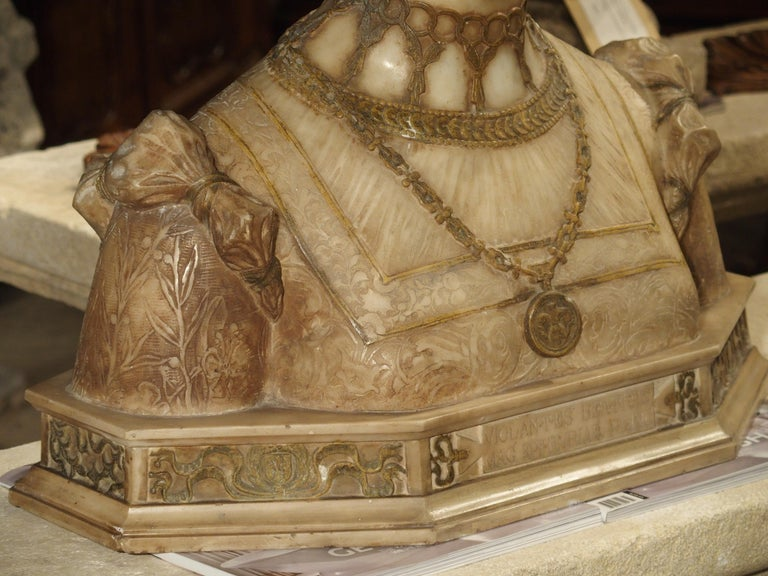 Antique Italian Alabaster Bust of the Grand Princess of Tuscany, circa 1890 9