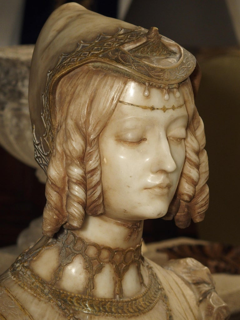 Antique Italian Alabaster Bust of the Grand Princess of Tuscany, circa 1890 10