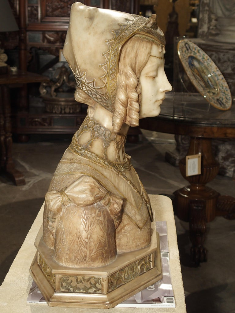 Antique Italian Alabaster Bust of the Grand Princess of Tuscany, circa 1890 11