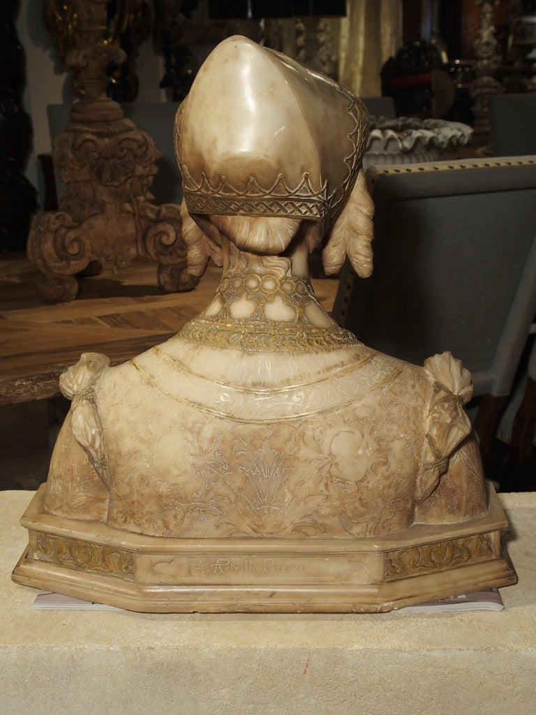 Antique Italian Alabaster Bust of the Grand Princess of Tuscany, circa 1890 13