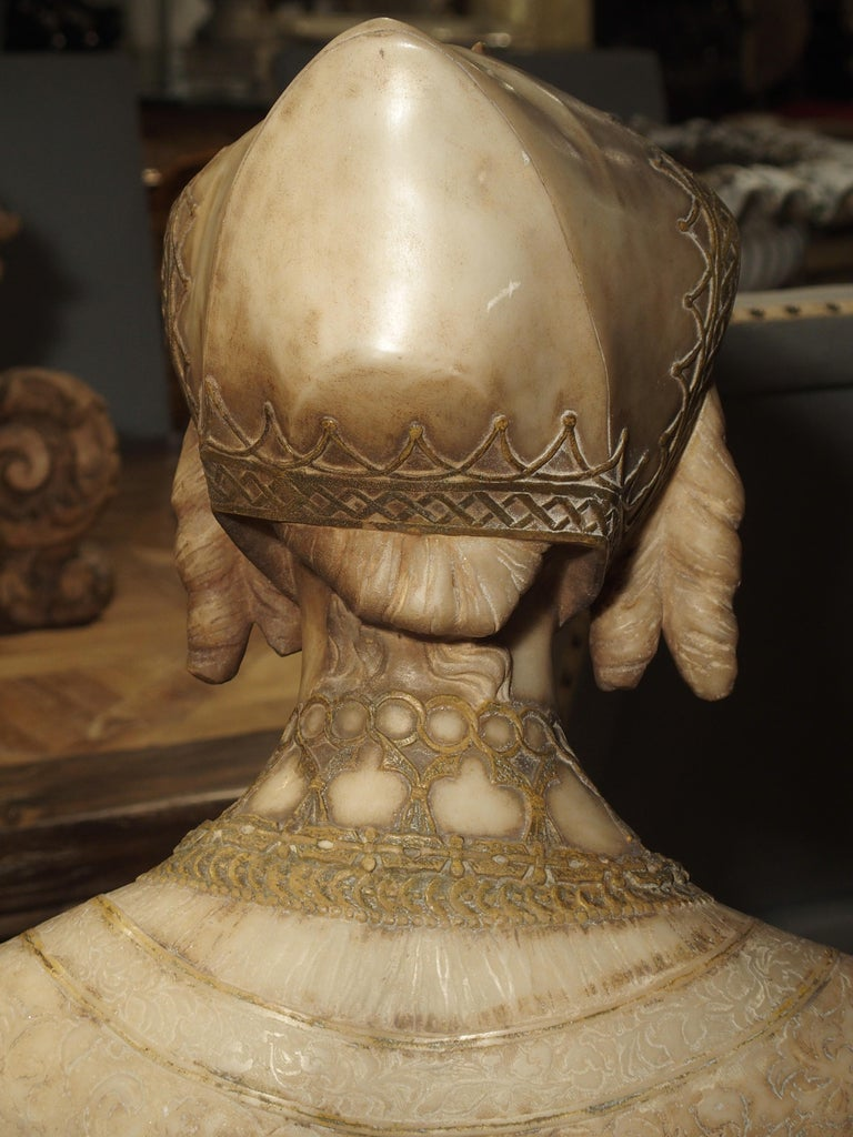 Antique Italian Alabaster Bust of the Grand Princess of Tuscany, circa 1890 14