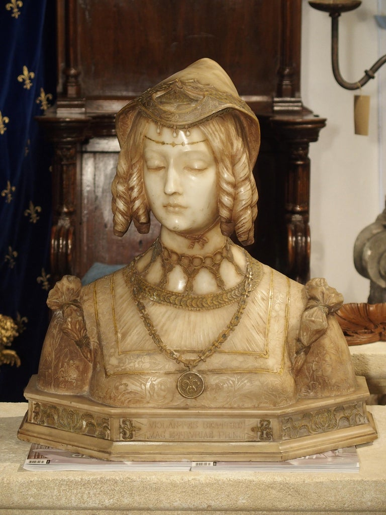 Hand-Carved Antique Italian Alabaster Bust of the Grand Princess of Tuscany, circa 1890