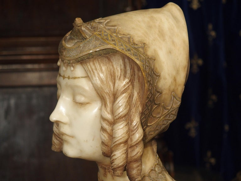 19th Century Antique Italian Alabaster Bust of the Grand Princess of Tuscany, circa 1890