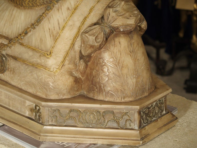 Antique Italian Alabaster Bust of the Grand Princess of Tuscany, circa 1890 1