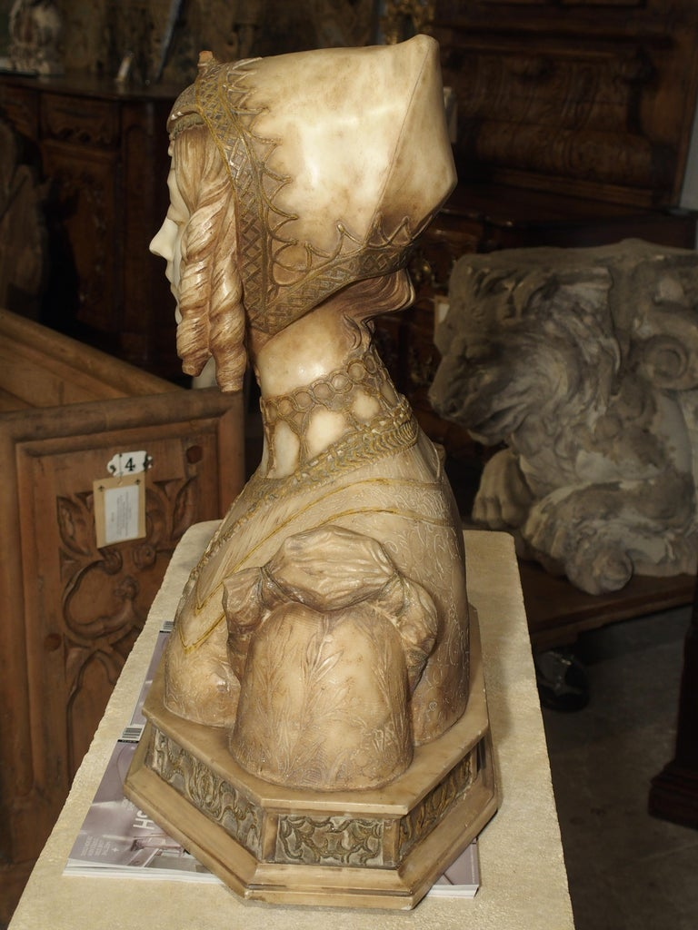 Antique Italian Alabaster Bust of the Grand Princess of Tuscany, circa 1890 2