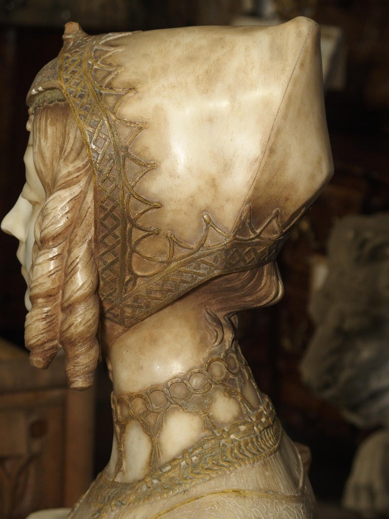 Antique Italian Alabaster Bust of the Grand Princess of Tuscany, circa 1890 3