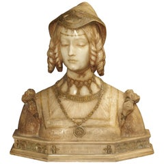 Antique Italian Alabaster Bust of the Grand Princess of Tuscany, circa 1890