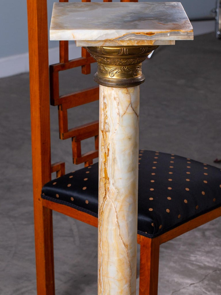 Antique Italian Alabaster Pedestal with Gilt Bronze Mounts, circa 1890 For Sale 9