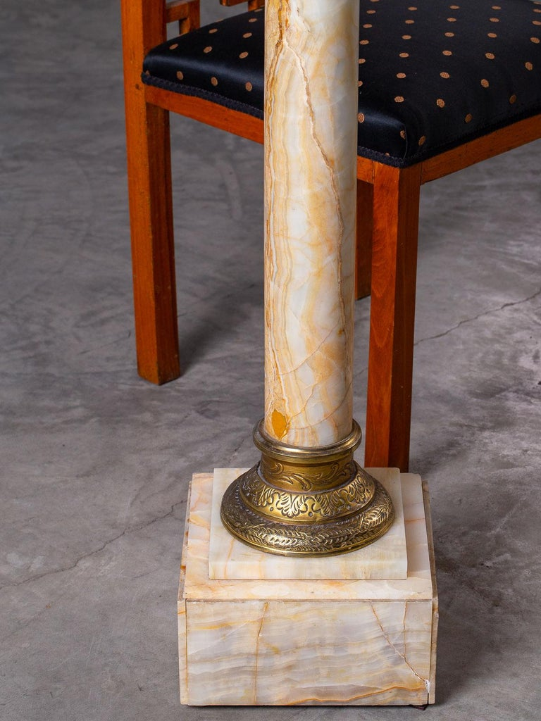 Antique Italian Alabaster Pedestal with Gilt Bronze Mounts, circa 1890 For Sale 10