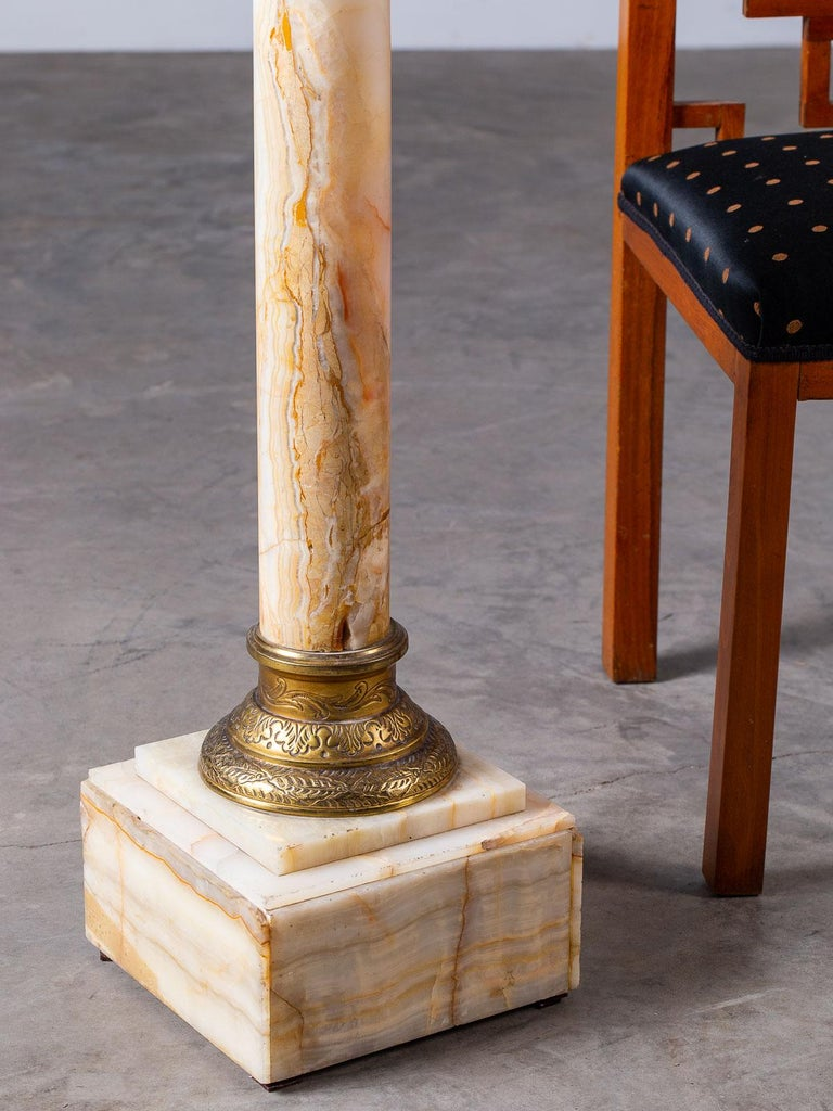Antique Italian Alabaster Pedestal with Gilt Bronze Mounts, circa 1890 In Good Condition For Sale In Houston, TX