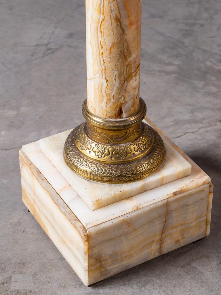 Antique Italian Alabaster Pedestal with Gilt Bronze Mounts, circa 1890 For Sale 2