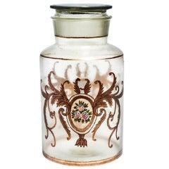 Antique Italian Apothecary Lidded Glass Jar