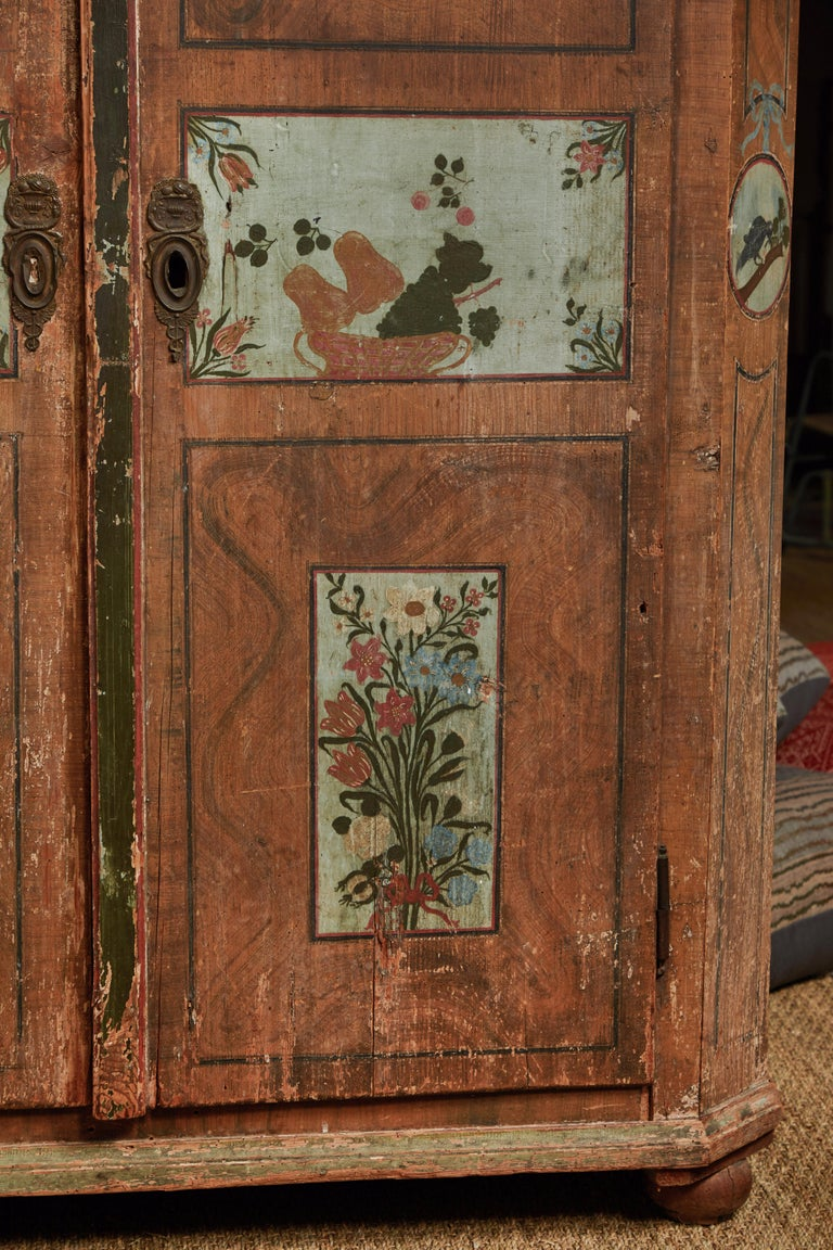 Antique Italian Armoire In Distressed Condition For Sale In Los Angeles, CA