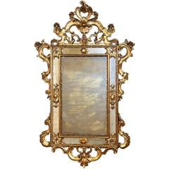 Antique Italian Baroque Carved Giltwood Mirror