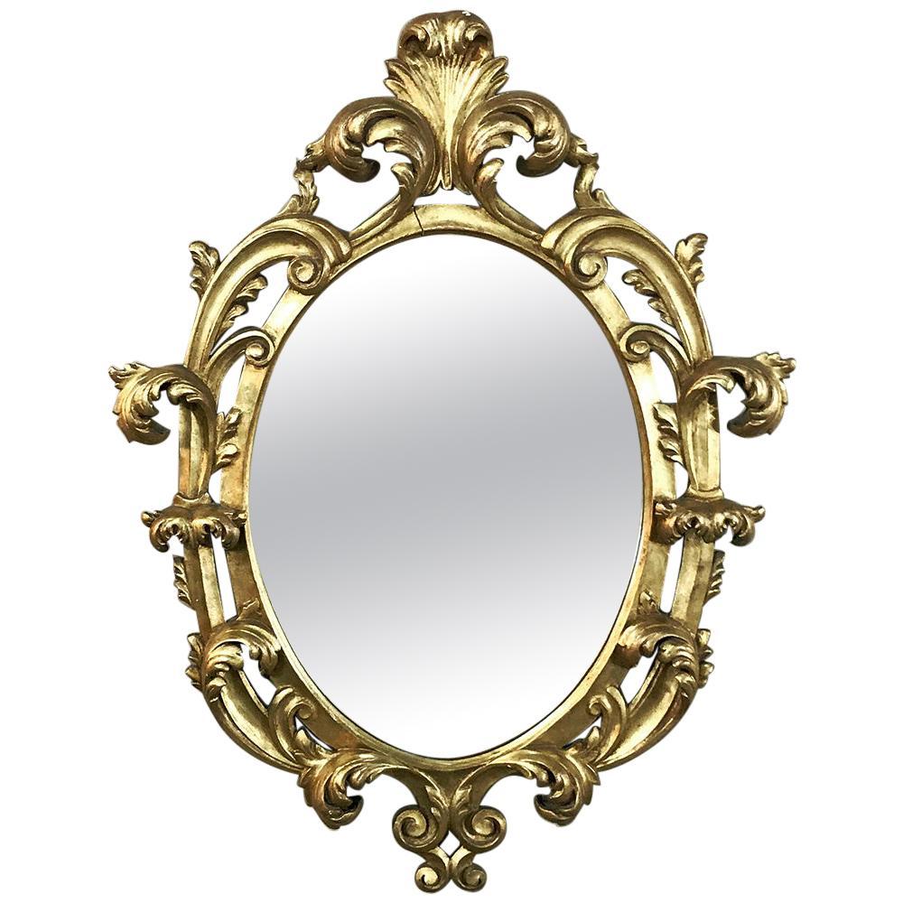 Antique Italian Baroque Carved Giltwood Mirror