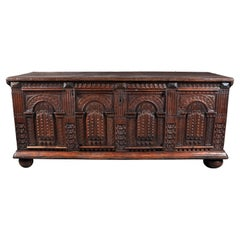 Antique Italian Baroque Carved Oak Paneled Cassone / Coffer / Chest, circa 1700