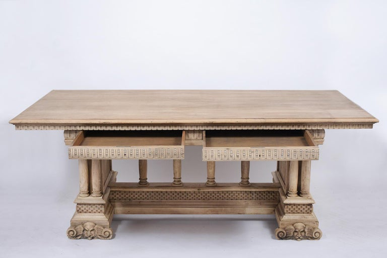 Hand-Carved Antique Italian Baroque Dining Table For Sale