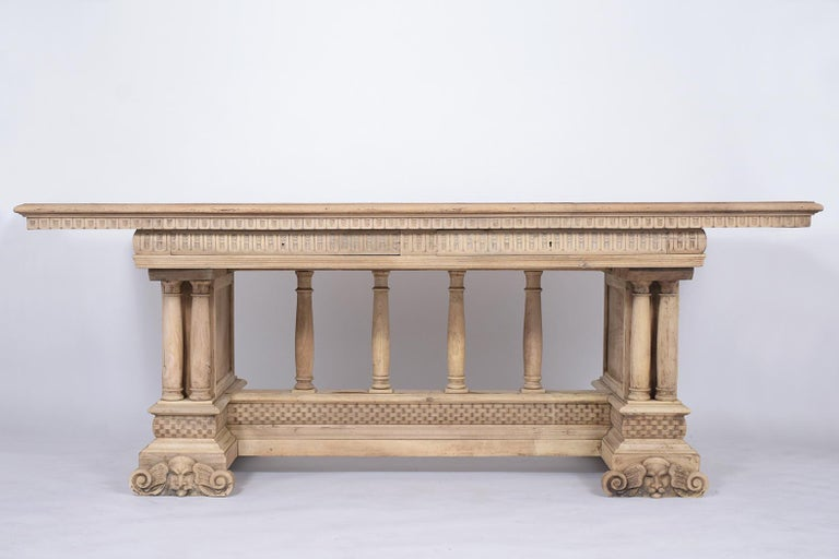 Wood Antique Italian Baroque Dining Table For Sale