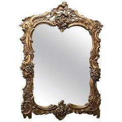 Antique Italian Baroque Gilded Wood Mirror