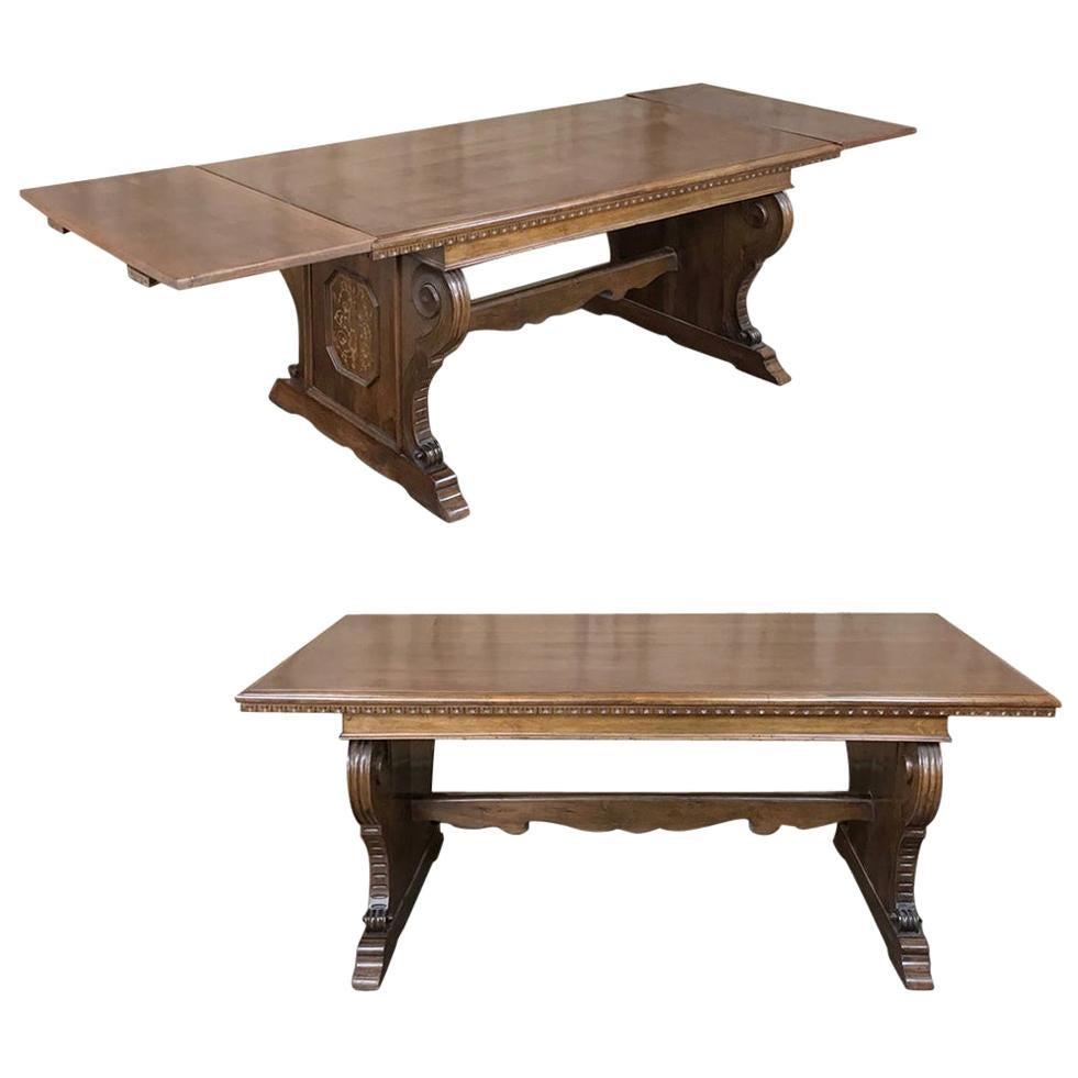 Antique Italian Baroque Inlaid Walnut Draw Leaf Dining Table