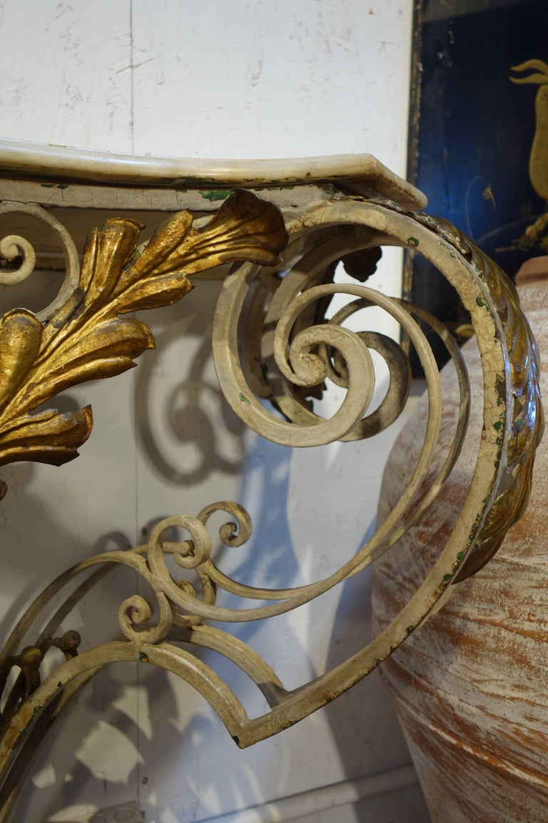 Antique Italian Baroque Iron Painted and Gilded Console Table with White Marble For Sale 4