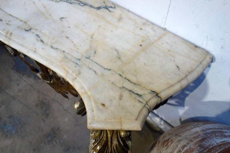 Antique Italian Baroque Iron Painted and Gilded Console Table with White Marble For Sale 8