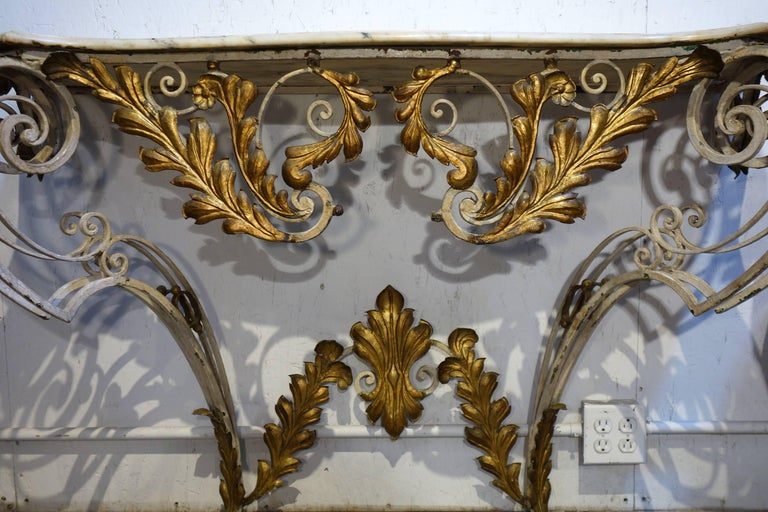 Baroque Revival Antique Italian Baroque Iron Painted and Gilded Console Table with White Marble For Sale