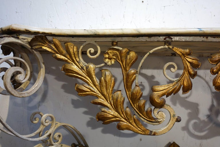 19th Century Antique Italian Baroque Iron Painted and Gilded Console Table with White Marble For Sale