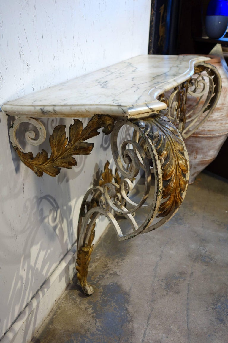 Antique Italian Baroque Iron Painted and Gilded Console Table with White Marble For Sale 2