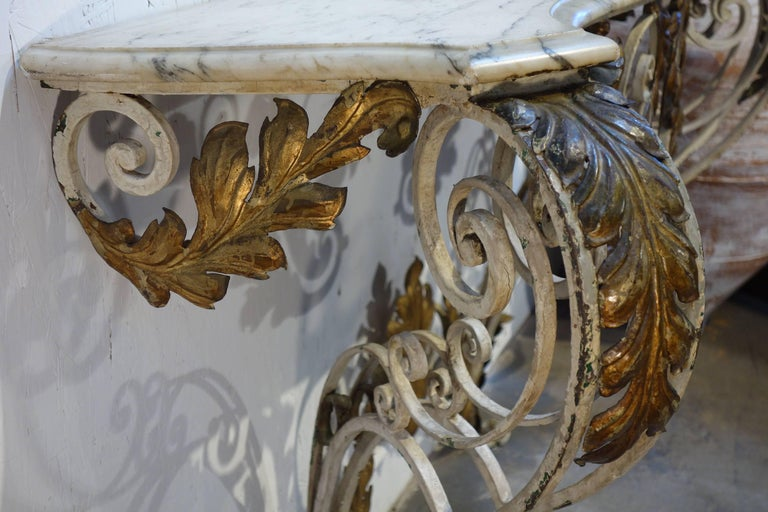 Antique Italian Baroque Iron Painted and Gilded Console Table with White Marble For Sale 3