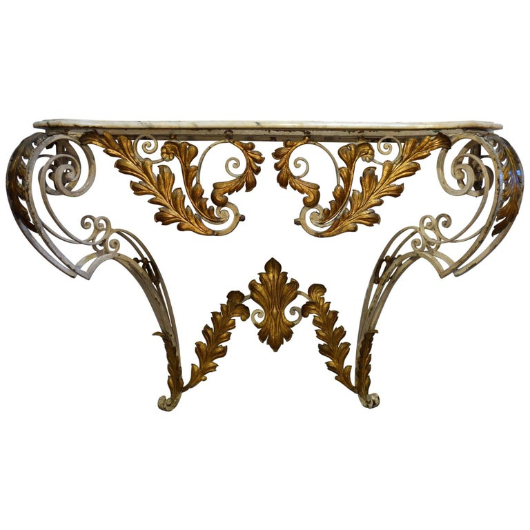 Antique Italian Baroque Iron Painted and Gilded Console Table with White Marble For Sale
