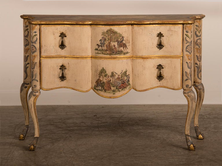 Hand-Painted Antique Italian Baroque Rococo Painted Two-Drawer Chest, Italy, circa 1750 For Sale