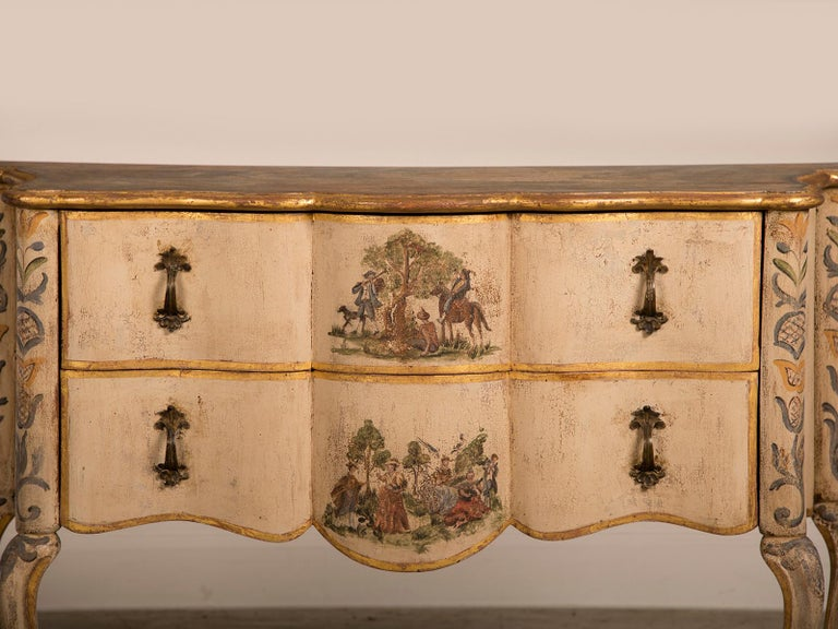 Antique Italian Baroque Rococo Painted Two-Drawer Chest, Italy, circa 1750 In Good Condition For Sale In Houston, TX