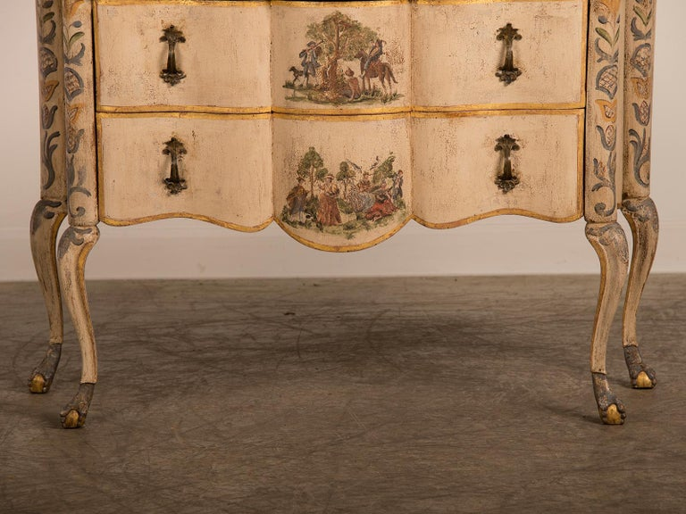 Mid-18th Century Antique Italian Baroque Rococo Painted Two-Drawer Chest, Italy, circa 1750 For Sale
