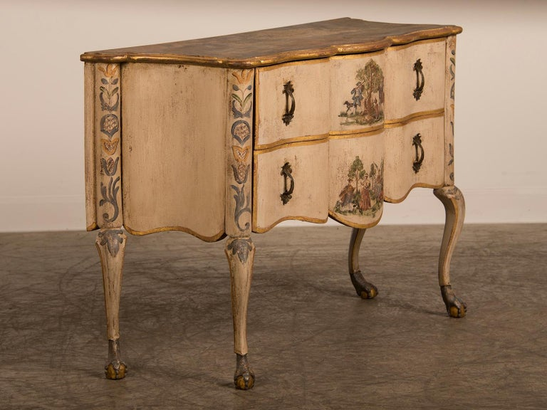 Oak Antique Italian Baroque Rococo Painted Two-Drawer Chest, Italy, circa 1750 For Sale