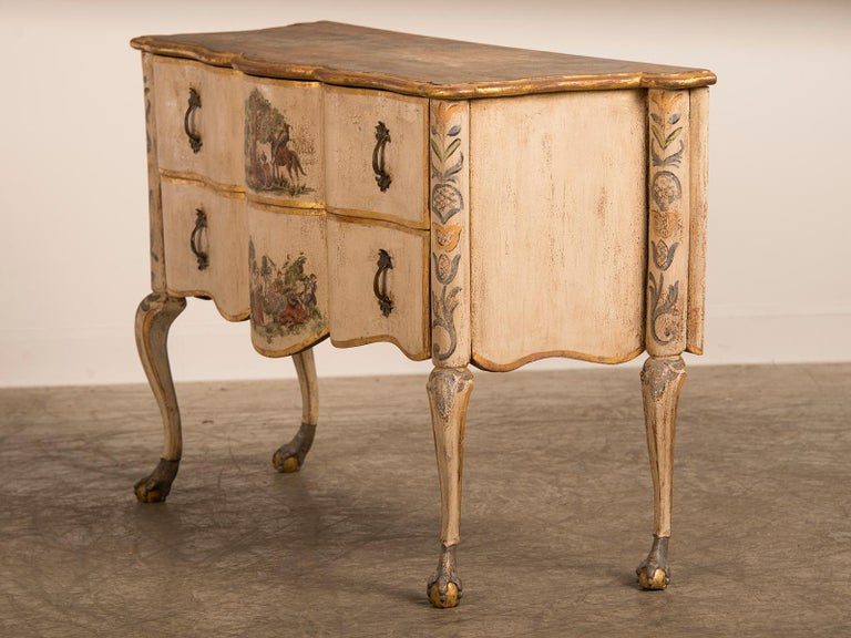 Antique Italian Baroque Rococo Painted Two-Drawer Chest, Italy, circa 1750 For Sale 1
