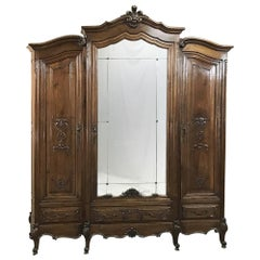 Antique Italian Baroque Solid Walnut Triple Armoire