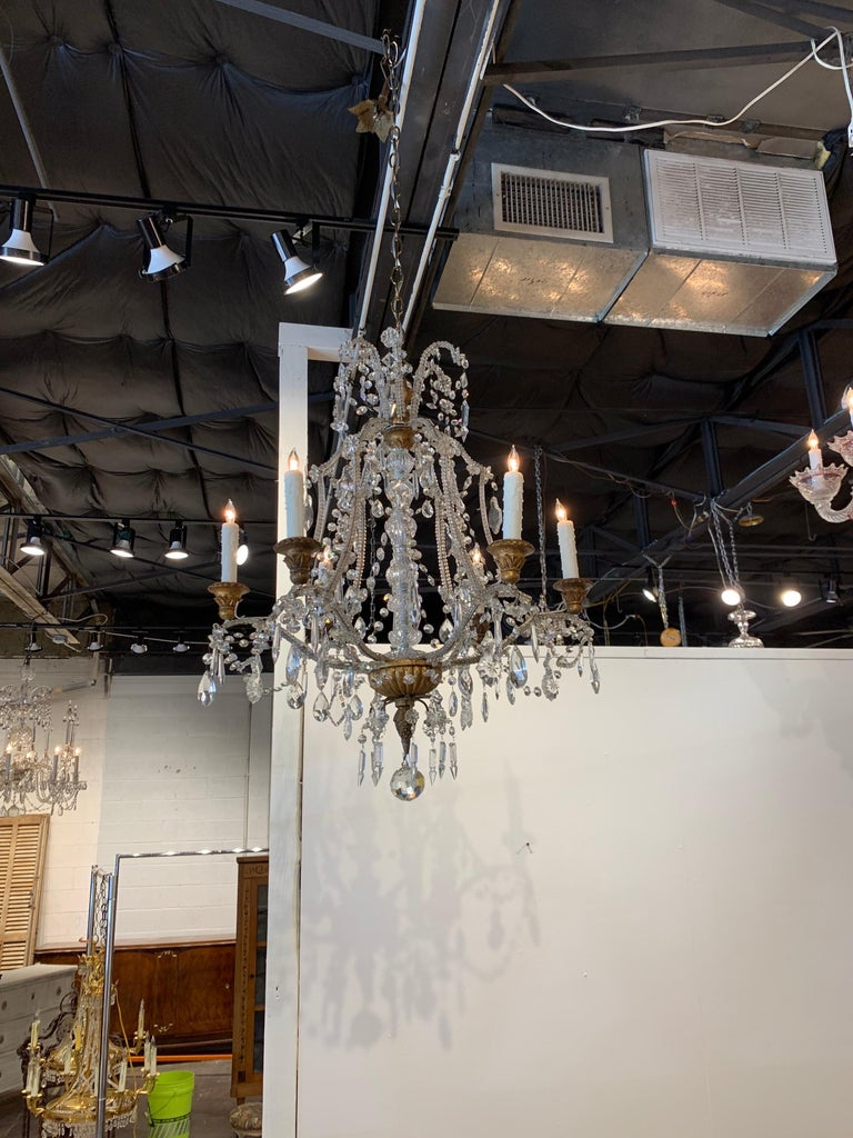 Elegant antique Italian beaded crystal chandelier with 6-light. Beautiful shape and scale to this fixture. And draped with gorgeous crystals. So pretty!